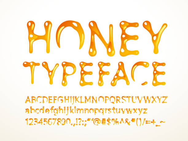 Honey typeface Vector honey typeface. Letters A-Z, a-z, numbers and symbols. Eps8. RGB. Global colors caramel stock illustrations