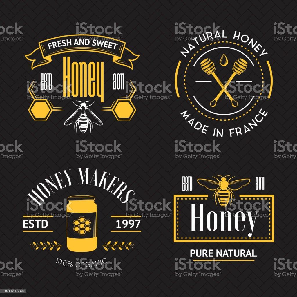 Jeu de logo vintage de miel - Illustration vectorielle