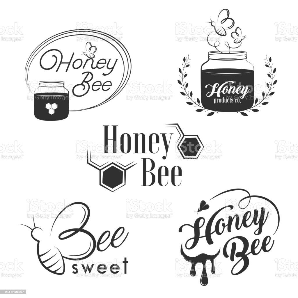Honey Vintage Logo Set Stock Vector Art More Images Of Agriculture