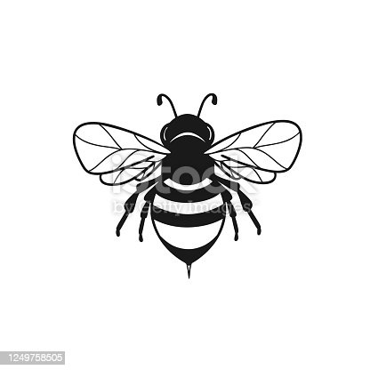 Clipart black bee isolated on white background.Graphic illustration of insect silhouette vector drawing for honey products, package, design.