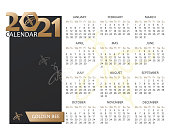 Honeybee calendar template 2021. Bee icon. Page. Planner diary in a minimalist style. Corporate and business calendar in minimal table, black and gold color. Week starts Monday. Vector illustration .