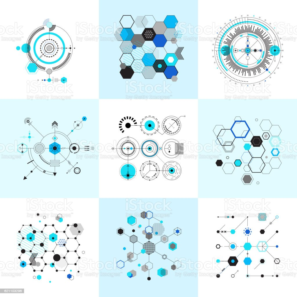 Honeycomb and circular bauhaus abstract geometric shapes set vector art illustration