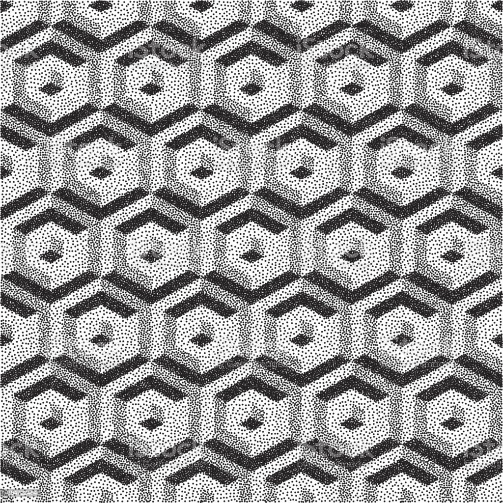 Honeycomb background. 3D mosaic. Black and white grainy dotwork design. Pointillism pattern. Stippled vector illustration. royalty-free honeycomb background 3d mosaic black and white grainy dotwork design pointillism pattern stippled vector illustration stock vector art & more images of abstract
