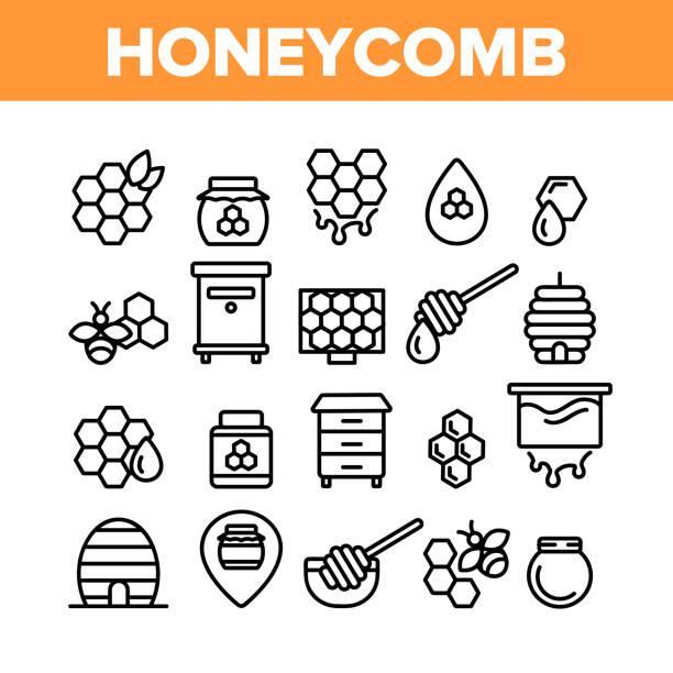 ハニカム コレクション要素 アイコン セット ベクトル - 花粉点のイラスト素材/クリップアート素材/マンガ素材/アイコン素材