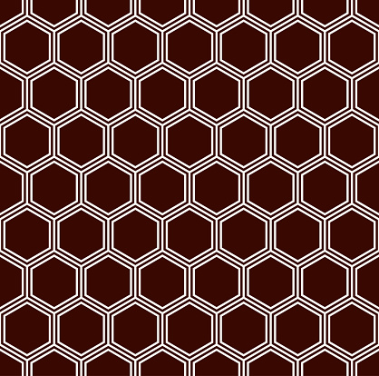Honeycomb grid background. Outline repeated hexagon wallpaper. Seamless surface pattern with classic geometric ornament.