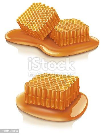 Honeycomb on white background - Illustration