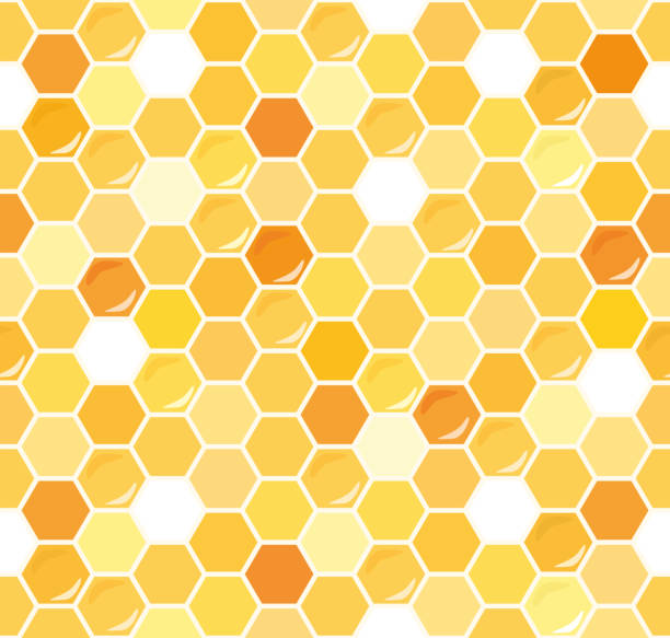 illustrazioni stock, clip art, cartoni animati e icone di tendenza di honeycomb seamless pattern background. - miele