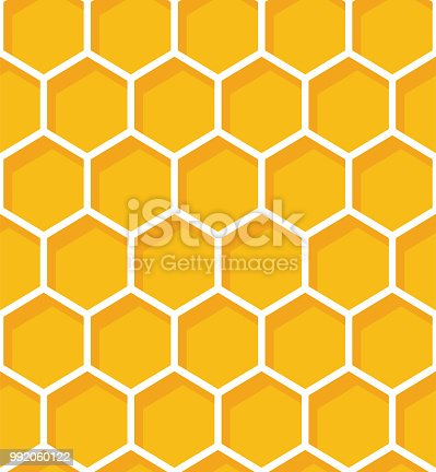 istock Honeycomb seamless pattern. Vector natural honey background. 992060122