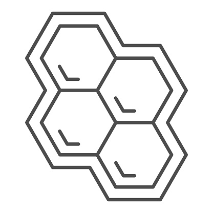 Honeycomb thin line icon, Honey and bee concept, honey cells on white background, bee hexagon honeycomb icon in outline style for mobile concept and web design. Vector graphics.