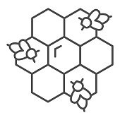 Honeycombs with bees thin line icon, Honey concept, Honey bees in honeycomb sign on white background, bee in hexagons icon in outline style for mobile concept and web design. Vector graphics