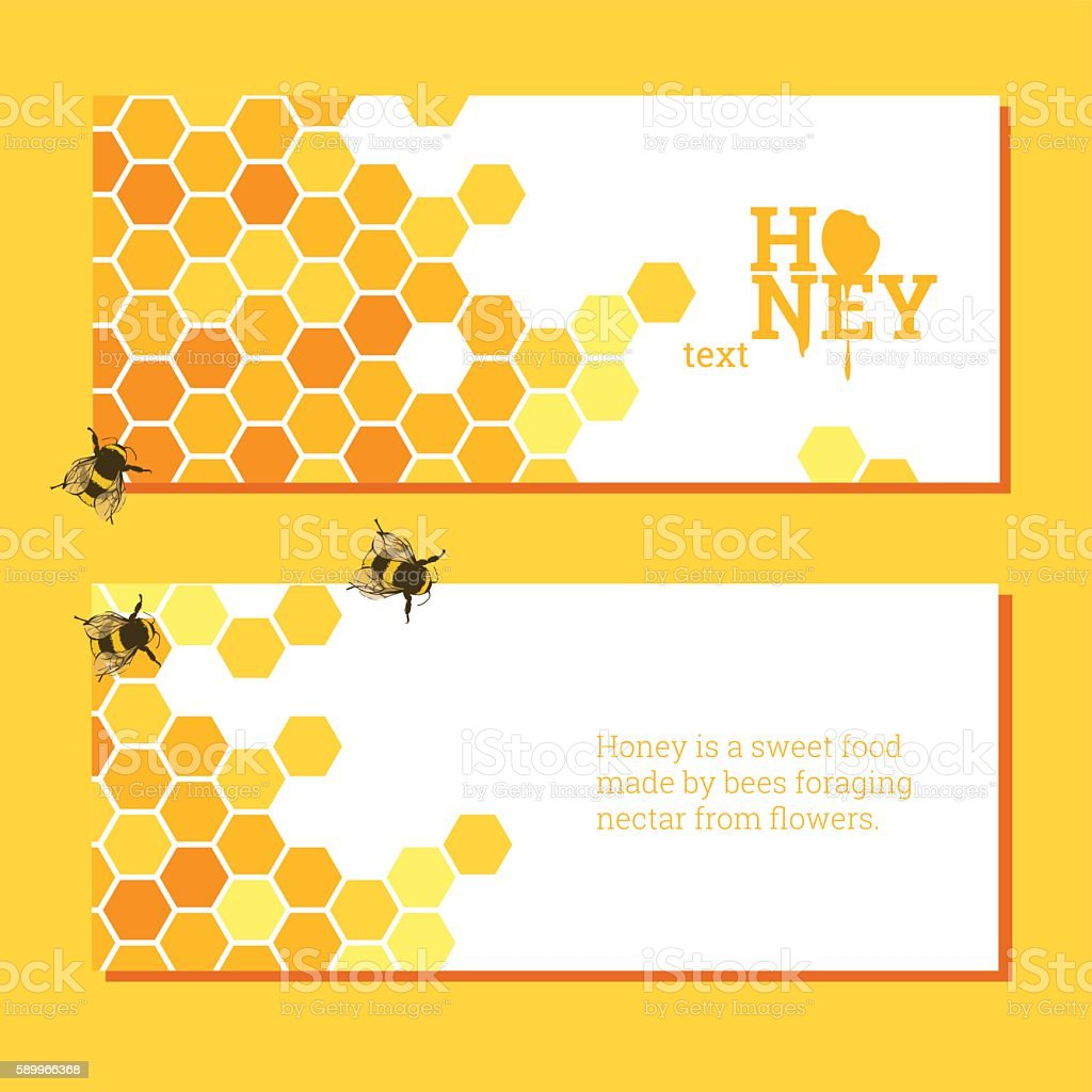 Honeycombs bright background vector art illustration
