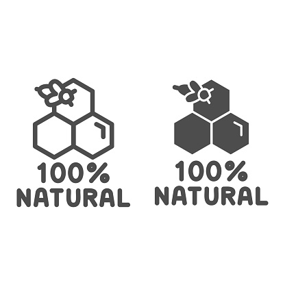 Honeycombs with bee and text natural honey line and solid icon, Natural organic honey sign on white background, Honey bee on cells icon in outline style for mobile concept and web. Vector graphics.