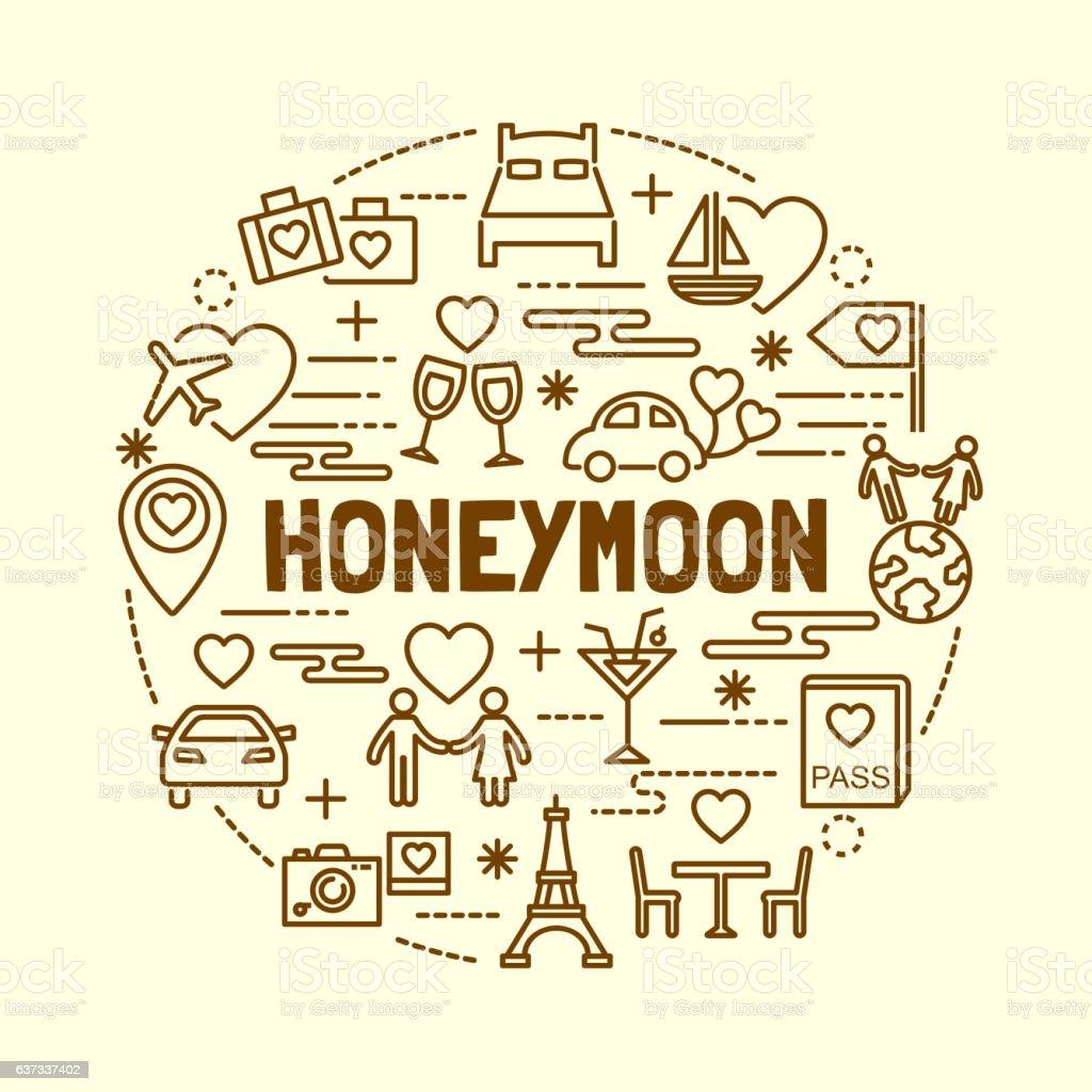 honeymoon minimal thin line icons set vector art illustration