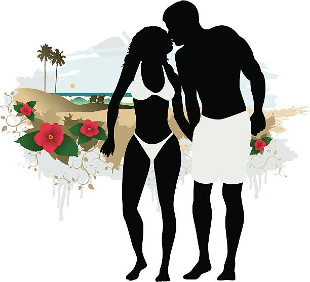 Best Silhouette Of A Man Kissing Woman Beach Illustrations