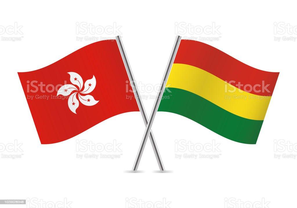Banderas de Hong Kong y Bolivia. Ilustración de vector. - ilustración de arte vectorial