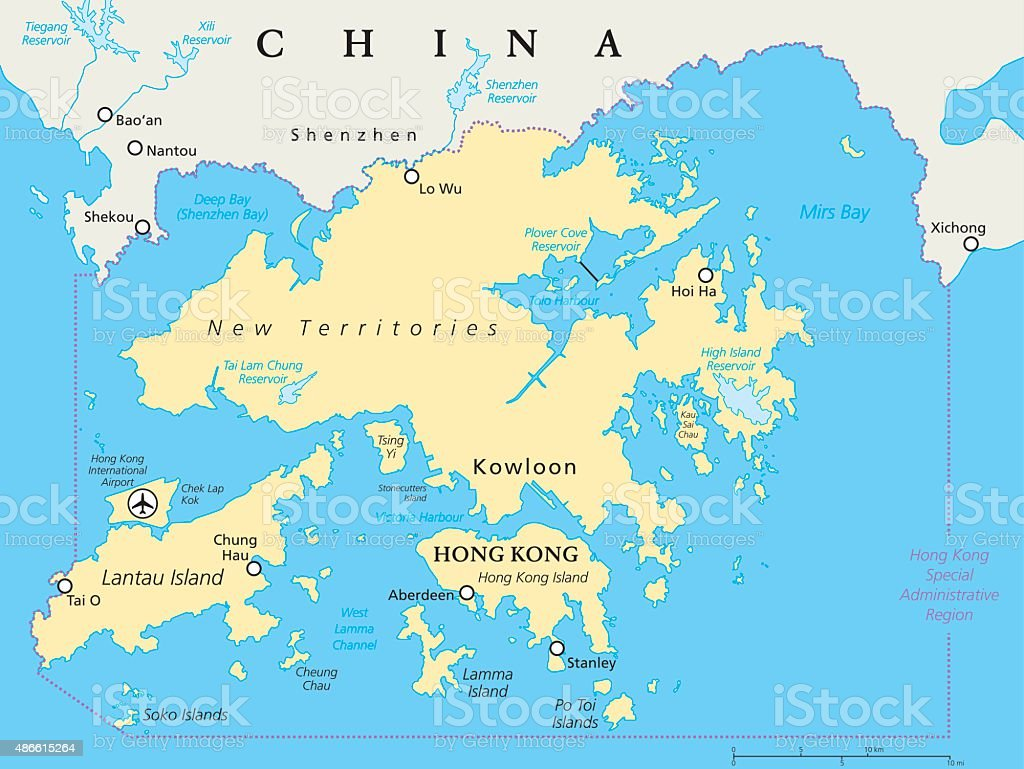 Hong Kong And Vicinity Political Map vector art illustration