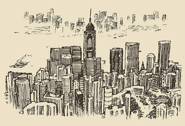 bildbanksillustrationer, clip art samt tecknat material och ikoner med hong kong big city architecture hand drawn sketch - illustrationer med hongkong