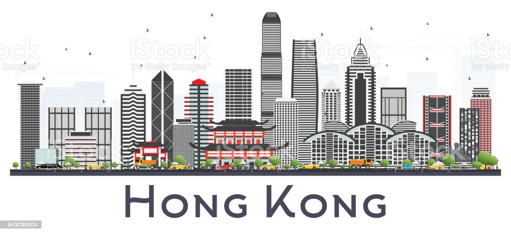 Hong Kong China City Skyline with Gray Buildings Isolated on White. vector art illustration