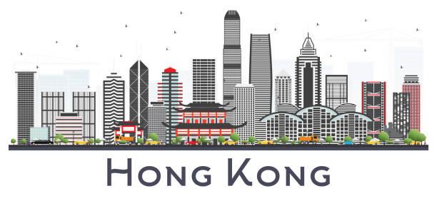 illustrazioni stock, clip art, cartoni animati e icone di tendenza di hong kong china city skyline with gray buildings isolated on white. - hong kong