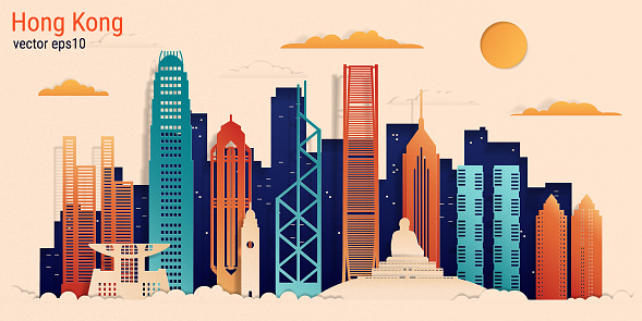 Hong Kong city colorful paper cut style, vector stock illustration