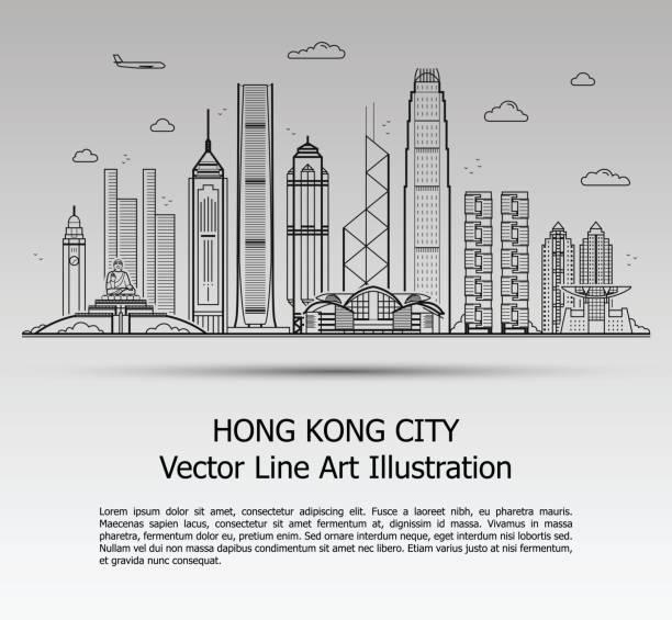 illustrazioni stock, clip art, cartoni animati e icone di tendenza di hong kong city gray - hong kong
