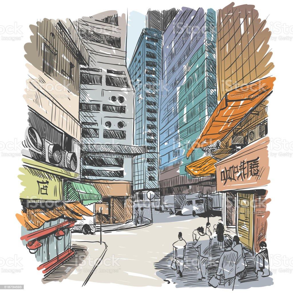 Hong Kong Art: Hong Kong City Hand Drawn Vector Illustration Stock Vector