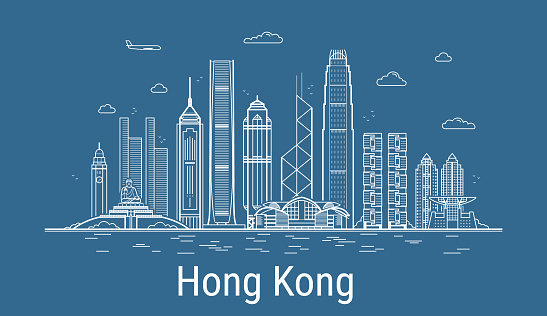 Hong Kong city line art vector. Illustration with all famous buildings. Cityscape.
