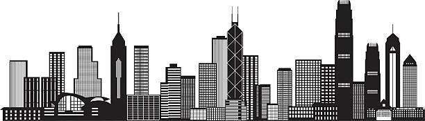 illustrazioni stock, clip art, cartoni animati e icone di tendenza di skyline della città di hong kong di illustrazione vettoriale in bianco e nero - hong kong