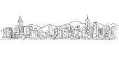 Hong Kong city skyline , illustration vector