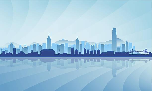 illustrazioni stock, clip art, cartoni animati e icone di tendenza di hong kong città skyline sagoma sullo sfondo - hong kong