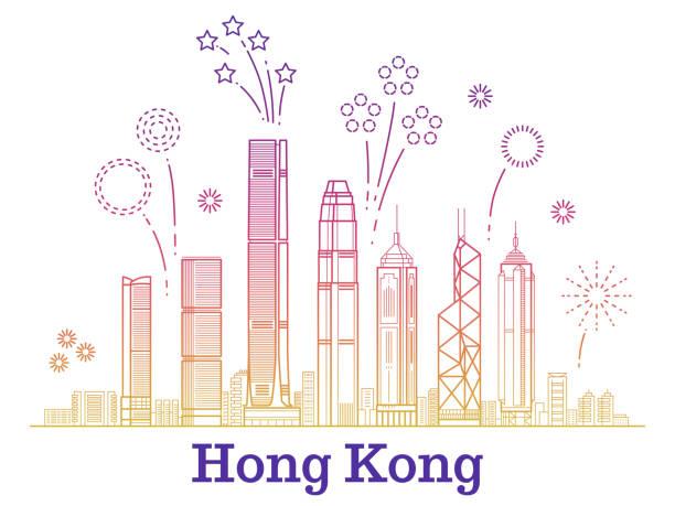 illustrazioni stock, clip art, cartoni animati e icone di tendenza di hong kong city vector panorama with colorful festive fireworks - hong kong