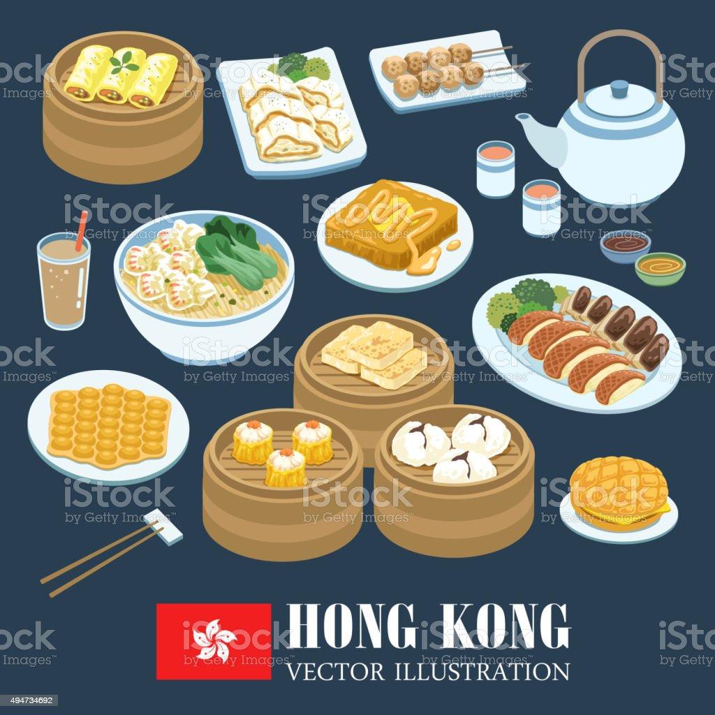 Cocina de Hong Kong - ilustración de arte vectorial