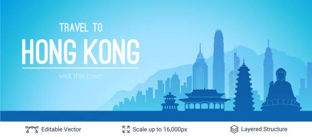 illustrazioni stock, clip art, cartoni animati e icone di tendenza di hong kong famous city scape. - hong kong