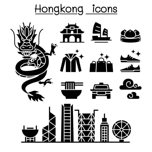 illustrazioni stock, clip art, cartoni animati e icone di tendenza di hong kong icon set - hong kong