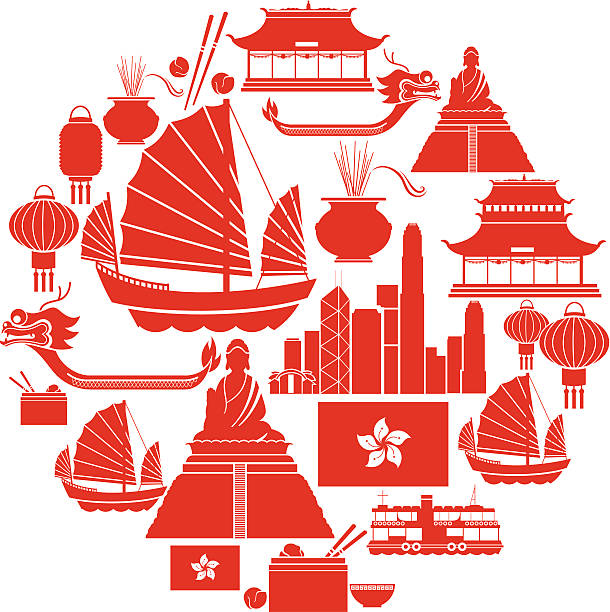 hong kong icon set - chinese food stock illustrations, clip art, cartoons, & icons
