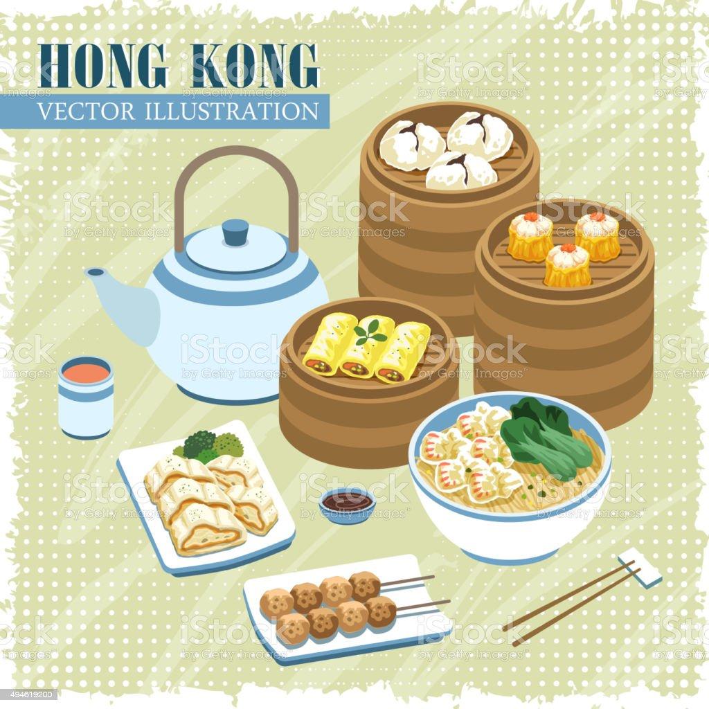 Hong Kong cuisines vector art illustration