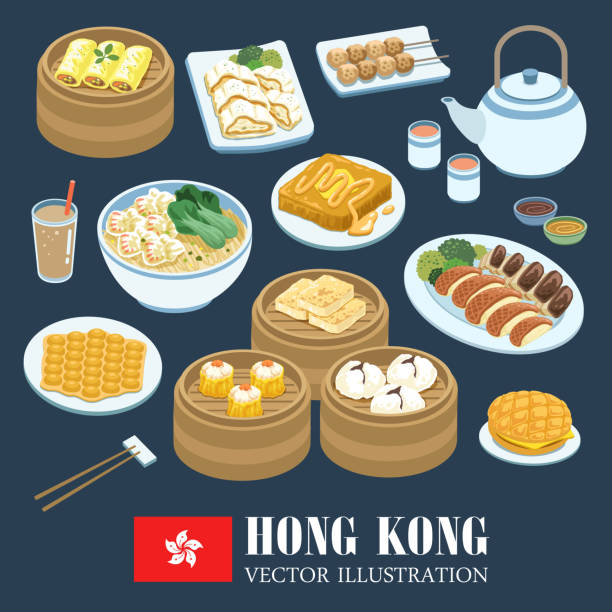 hong kong cuisines - chinese food stock illustrations, clip art, cartoons, & icons