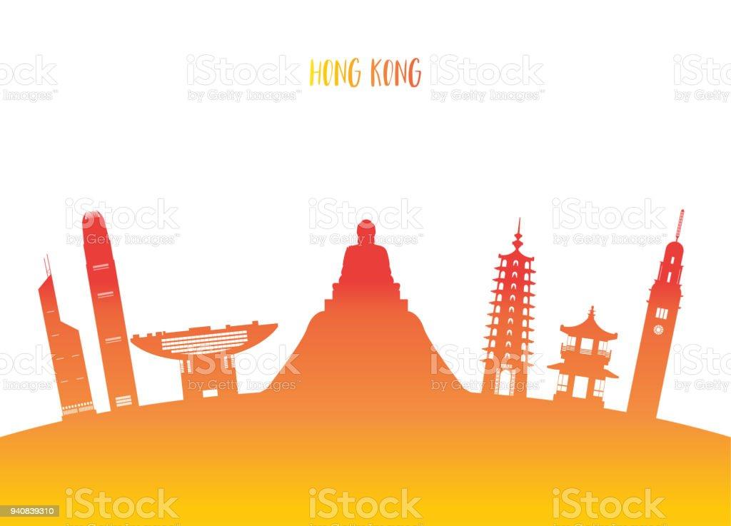 Hong Kong Landmark Global Travel And Journey Paper Background Vector Design Templateused For