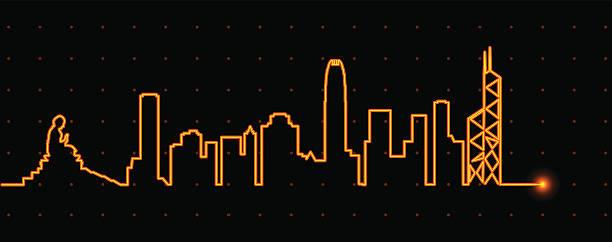 illustrazioni stock, clip art, cartoni animati e icone di tendenza di hong kong light streak profile - hong kong