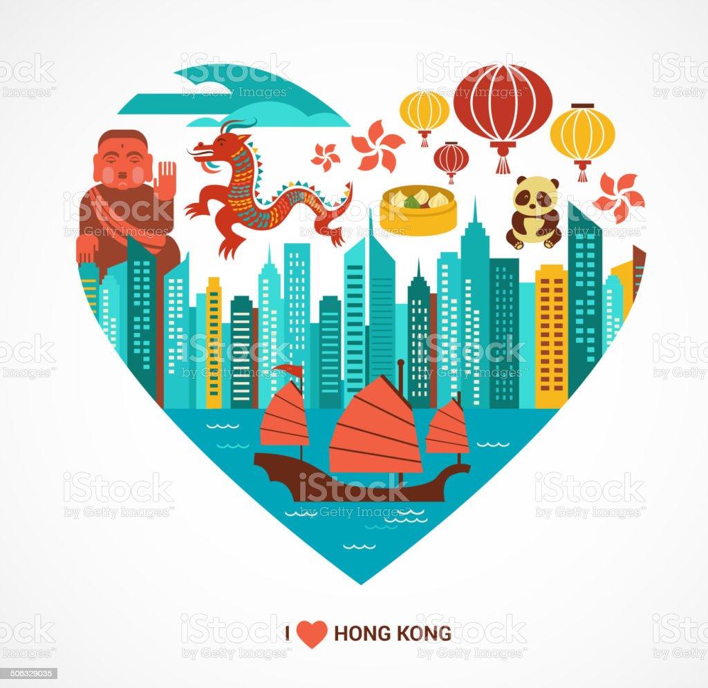 香港愛の背景ベクトルイラスト - アジア大陸のベクターアート素材や画像