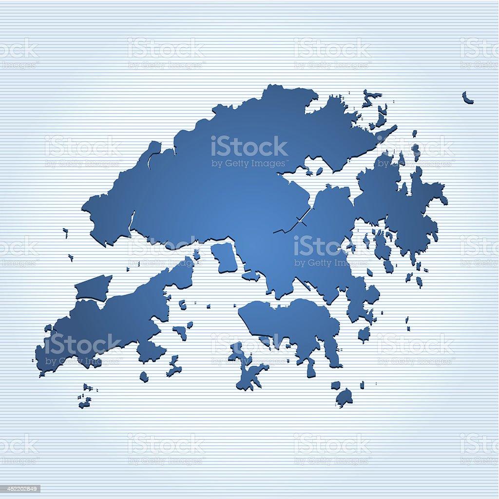 Hong Kong map blue royalty-free stock vector art