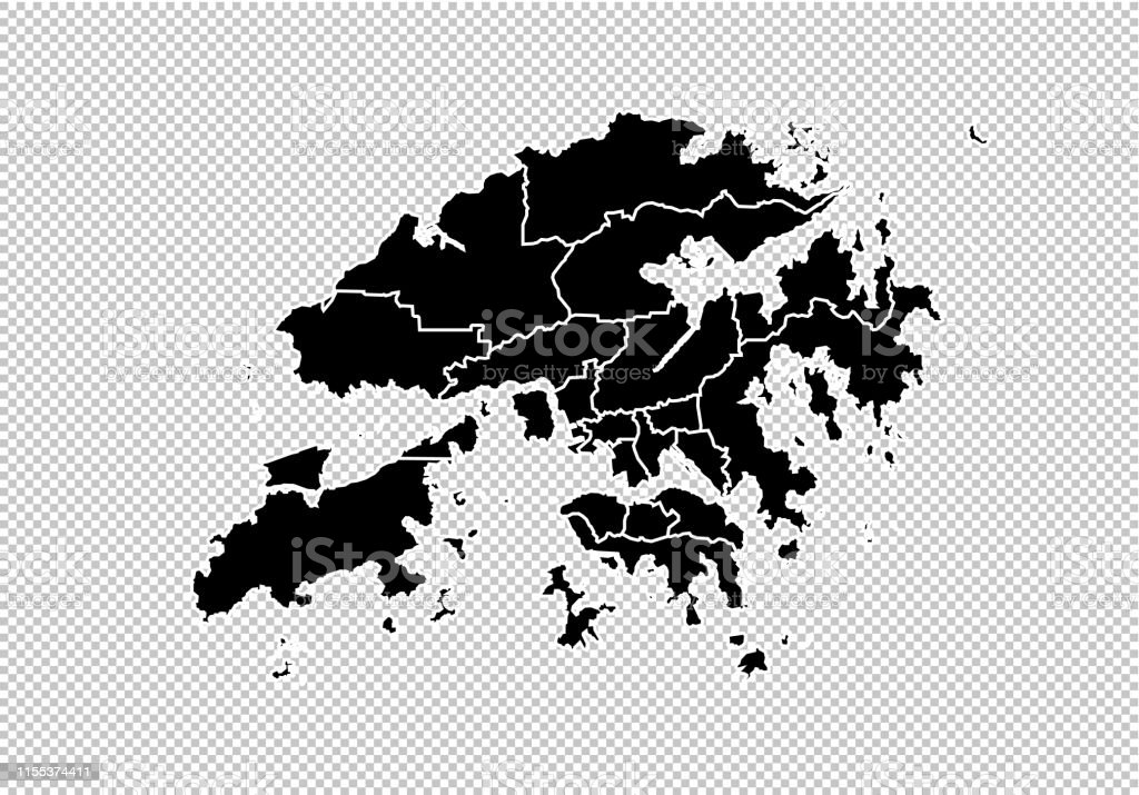 Hong Kong Maphigh Detailed Black Map With ...