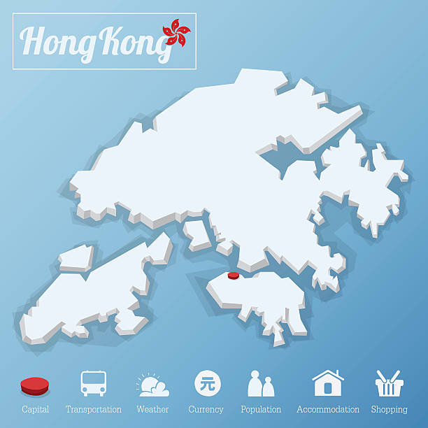 Hong Kong map. Including tourism icon in flat design. Hong Kong map. Including tourism icon in flat design for modern infographic, Vector, Illustration taiwanese currency stock illustrations