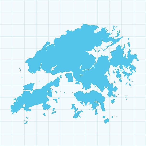 illustrazioni stock, clip art, cartoni animati e icone di tendenza di hong kong mappa su sfondo blu con griglia - hong kong