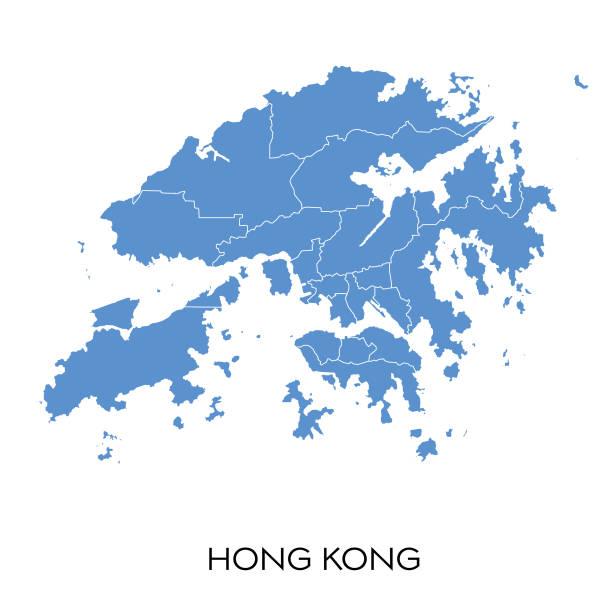 illustrazioni stock, clip art, cartoni animati e icone di tendenza di hong kong map - hong kong