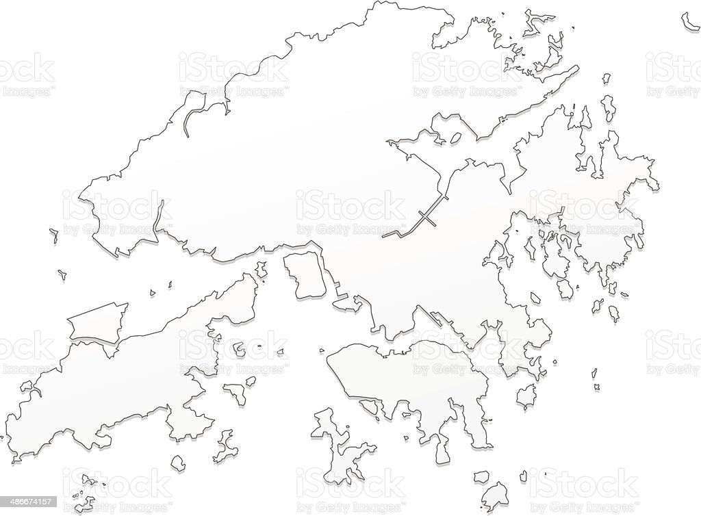 Hong Kong Map White Stock Vector Art IStock - Hong kong map