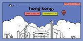 Hong Kong Modern Web Banner Design with Vector Linear Skyline