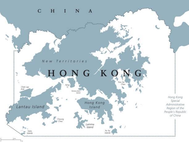 illustrazioni stock, clip art, cartoni animati e icone di tendenza di hong kong political map - hong kong