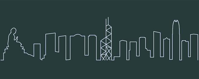 Hong Kong Single Line Skyline
