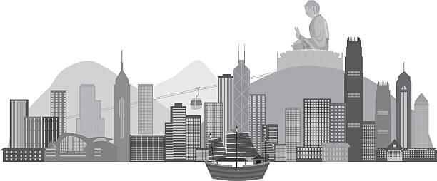 illustrazioni stock, clip art, cartoni animati e icone di tendenza di skyline di hong kong e illustrazione vettoriale della statua del buddha - hong kong